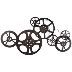 Antique Bronze Metal Movie Reel Wall Art