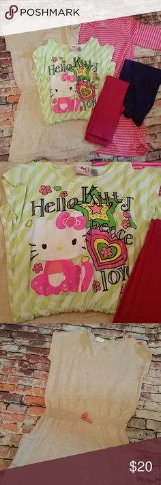 Bargain Box #2: Hello Kitty, Crazy 8, FG Girls 10 #1: Hello Kitty Green Striped, cold shoulder, tshirt dress. 10/12  #2: Crazy 8 Sweater Dress, short sleeve and pockets.  Tan with neon specks. 10/12  #3: Faded Glory 3/4 Sleeve Tshirt Dress 10/12  #4: Bonus - purple capri leggings and pink tights.  All in excellent to good used condition. Additional photos available upon request. Hello Kitty Dresses Casual