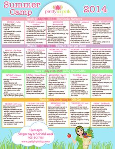 Pretty in Pink Spa Studio 2014 Summer Camp schedule