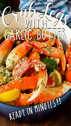 These crab legs are steamed to perfection, then tossed in a flavorful garlic butter sauce. Quick Dinner Recipes, Supper Recipes, Quick Meals, Food Dishes, Main Dishes, Garlic Butter Sauce, Crab Legs, Dinner Options, Fresh Seafood