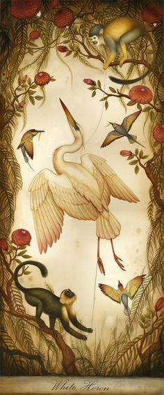 Illustration by Lindsey Carr, White Heron. Art And Illustration, Art Magique, Desenho Tattoo, Bird Art, Natural History, Illustrators, Art Gallery, Birds, Prints
