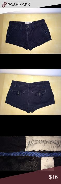 Aeropostale Black short shorts Like-new!!! Lowrise front zipper and button closure/ two front pockets/  two back pockets with button closure /belt loops /perfect condition. I purchased two pairs of black shorts (size 0 and size 00). These are size 0. Aeropostale Shorts Cargos