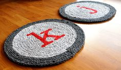 "Custom Order Monogram Rugs    2 22"" diameter rugs custom ordered with ""k"" and ""j"" monograms. One for each child in front of their sinks in their bathroom!"