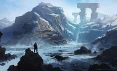 Beyond by Y-mir obelisk waterfall mountains stream river landscape location environment | Create your own roleplaying game material w/ RPG Bard at www.rpgbard.com | Writing inspiration for Dungeons & Dragons DND Pathfinder PFRPG Warhammer 40k Star Wars Shadowrun Call of Cthulhu and d20 fantasy science fiction scifi horror design | Not our art: please click artwork for source