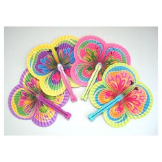 Butterfly Party Fan Supplies 4 Paper Fan Favors Hand Fan Decor Folding... (215 UAH) ❤ liked on Polyvore featuring home and home decor