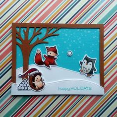 """Fun in the snow for this Christmas card, that I created with the """"Jump For Joy"""" stamp set and """"Leafy Tree Backdrop: Landscape"""" die from """"Lawn Fawn""""."""