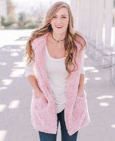 Pink Fuzzy Hooded Vest