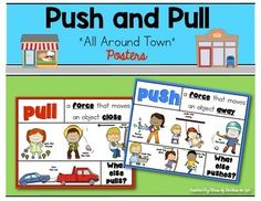All Around Town Push and Pull posters for Kindergarten and First Grade. 2 posters in color. $