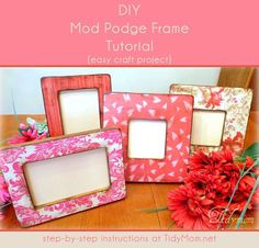 DIY easy Mod Podge Frame Tutorial.  Great gift idea!  Learn how to make these frames in no time at TidyMom.net