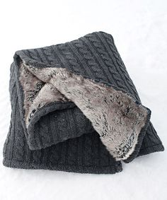 Love this Gray Cable Knit & Faux Fur Throw on #zulily! #zulilyfinds