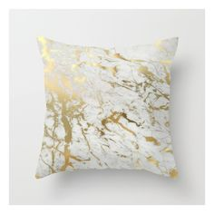 Gold Marble Throw Pillow ($20) ❤ liked on Polyvore featuring home, home decor, throw pillows, pillows, gold toss pillows, gold home accessories, patterned throw pillows, gold accent pillows and gold home decor
