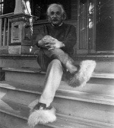 Albert Einstein with fur shoes!