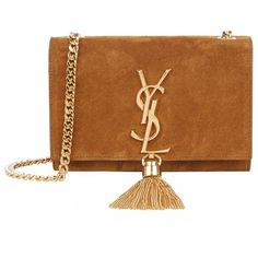 Saint Laurent Small Monogramme Suede Shoulder Bag (2 235 AUD) ❤ liked on Polyvore featuring bags, handbags, shoulder bags, ysl, fringe shoulder bag, brown shoulder bag, shoulder handbags, fringe tassel shoulder bag and brown purse