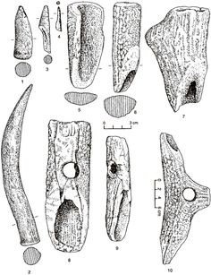Main categories of antler implements in the Iron gates Mesolithic. 1 = point, 2 = dagger, 34 = projectile points, 5 = burnisher, 6 = hoe, 7 = axe, 8-9 = mattocks, 10 = pick. All from Vlasac. After Srejovic and Letica 1978.