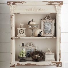 Distressed White Wood Open Cabinet With Shelves