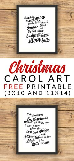 These FREE printable Christmas Carol Art prints would make a fantastic addition to any holiday gallery wall or other Christmas decor. Download and print these black and white art prints with lyrics to your favorite Christmas songs. Free Christmas Printables.