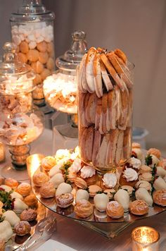 We could get some macaroons and Costco cream puffs and some chocolate covered pretzels for the snacks table! Wedding Reception Buffet Tips, Food, Catering || Colin Cowie Weddings