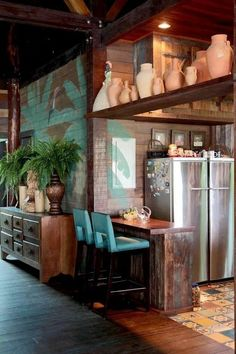 24 Trendy Kitchen Colors Ideas For Walls Small Spaces Style At Home, Sweet Home, Rustic Kitchen Decor, Eclectic Kitchen, Tropical Houses, Home And Deco, Rustic Design, Home Fashion, House Painting