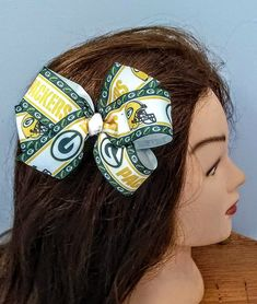 "NEW /""GREENBAY PACKERS/"" Professional Girls Ribbon Hairbow Rhinestone Bow Clip NFL"