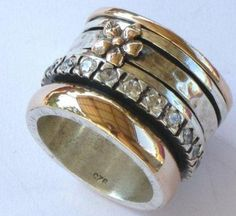 Israeli Wide Band #Woman #Spinner #Ring Flower Silver Gold  eBay Price 460 USD
