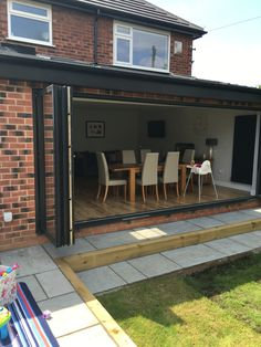 New Images Garden Patio bifold doors Concepts There's much to consider with regards to planning your perfect garden patio. You should look at ho patio bifold doors Outdoor Steps, Patio Steps, Garden Steps, Bifold Doors Onto Patio, Folding Patio Doors, Bifold Doors Extension, Extension Plans, Rear Extension, Patio Images