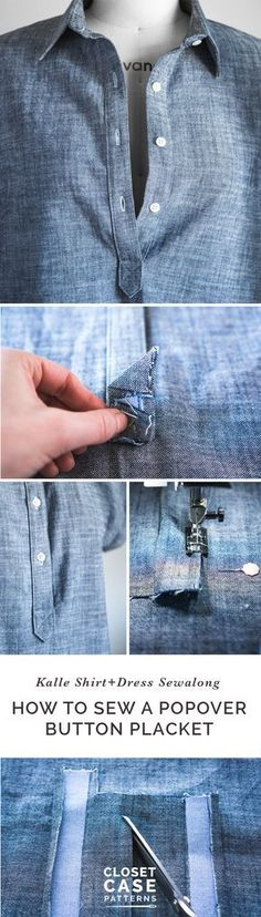 Sewing a Tunic or Popover Placket // Kalle Sewalong - Moldes Moda Sewing Basics, Sewing Hacks, Sewing Tutorials, Sewing Patterns, Sewing Tips, Dress Tutorials, Shirt Patterns, Basic Sewing, Purse Patterns
