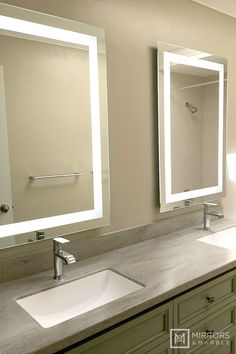 Love this mirror! Front-Lighted LED Bathroom Vanity Mirror: x - Rectangular - Wall-Mounted Master Bathroom Vanity, Bathroom Mirror Lights, Lighted Vanity Mirror, Mirror With Lights, Small Bathroom, Led Mirror, Light Up Wall Mirror, Bathroom Canvas, Vanity Mirrors