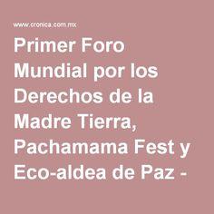 Primer Foro Mundial por los Derechos de la Madre Tierra, Pachamama Fest y Eco-aldea de Paz - César González Madruga | La Crónica de Hoy