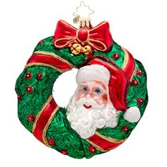 Christopher Radko Ornaments 2014 | Radko Christmas Wreath Ornament Peek-a-Boo Santa