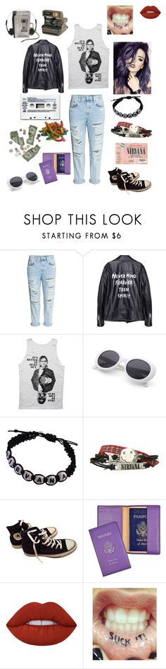 """""""Grudge Jade"""" by musicqueenx ❤ liked on Polyvore featuring H&M, Hot Topic, Converse, Veras, Polaroid, Royce Leather, Lime Crime, nirvana and grunge"""