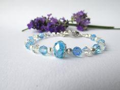 Blue & clear swarovski crystal bracelet  by DelabudCreations
