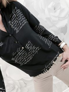 Turn Down Collar Single Breasted Letters Blouses Letter V, Winter Fashion Casual, Fabric Names, Types Of Collars, Pattern Fashion, Fashion Prints, Types Of Sleeves, Trendy Outfits, Summer Outfits
