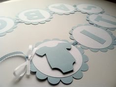 Light Blue and Onsie Baby Shower Banner.  Personalized Banner. It's A Boy Banner. 9 Characters.