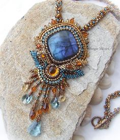 one of my favorite necklaces, beaded labradorite pendant, bead embroidery jewelry with flashy blue labradorite