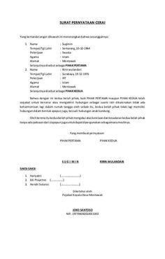 8 Contoh Surat Pernyataan Cerai Terlengkap Perceraian Surat Tulisan