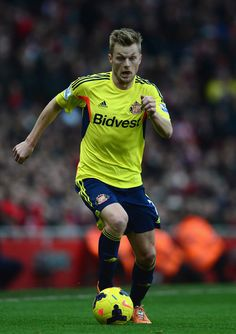 Sebastian Larsson of Sunderland in action during the Barclays Premier League match between Arsenal and Sunderland at Emirates Stadium on Feb...
