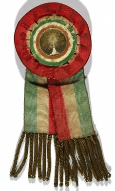 Rosettes used for demonstrations of gratitude for the granting of civil rights after the 1848 Revolution (Torre Pellice Waldensian Museum) Ribbon Bows, Ribbons, Fabric Origami, Moto Guzzi, Textile Fabrics, Persecution, Civil Rights, Rosettes, Shirt Ideas
