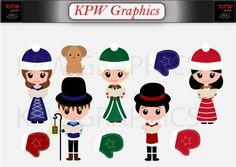 Christmas Winter Carol Singers Set in a PNG format. Personal & Small Commercial use Clipart Images, School Projects, Singers, Commercial, Clip Art, Scrapbook, Invitations, Dolls, This Or That Questions