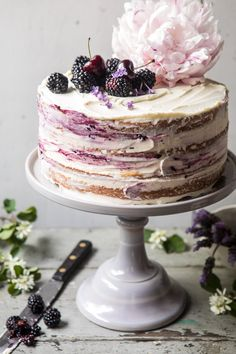 Blackberry Lavender Naked Cake with White Chocolate Buttercream. Blackberry Lavender Naked Cake with White Chocolate Buttercream.Blackberry Lavender Naked Cake with White Chocolate Buttercream. Four layers Food Cakes, Cupcake Cakes, Cake Cookies, Just Desserts, Delicious Desserts, Health Desserts, Nake Cake, Bolos Naked Cake, White Chocolate Buttercream