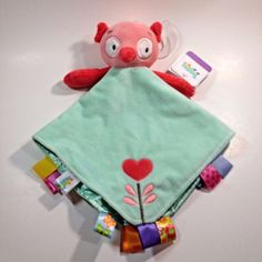 Taggies Owl Rattle Head Green Pink Heart Lovey Security Blanket New With Tags  #Taggies
