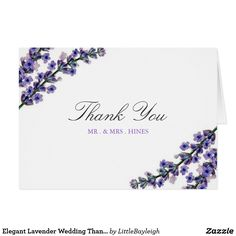Elegant Lavender Wedding Thank You Card Matching invitation, rsvp cards, postage stamps and more in the Little Bayleigh Store.