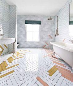 pink and yellow and white bathroom tile / sfgirlbybay