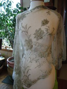 Antique Re embroidered lace tulle shawl meatllic gold silver floral