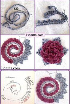 Best 12 Crochet Colorful Roses With Leafs – SkillOfKing. Crochet Leaves, Knitted Flowers, Crochet Flower Patterns, Knitting Patterns, Irish Crochet, Diy Crochet, Thread Crochet, Colorful Roses, Crochet Diagram
