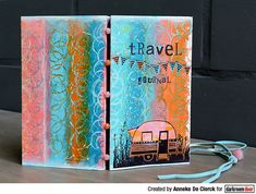 Project by Anneke De Clerck using Darkroom Door Abstract 02 Stamp, Carved Caravans and Alphabet Medley Stamp Sets Journal Covers, Art Journal Pages, Art Journaling, Simple Borders, Turquoise Painting, Stamp Carving, Printed Pages, Some Cards, Handmade Books