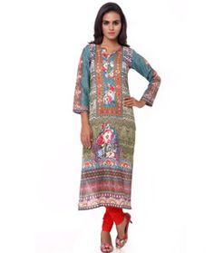 Shop Green Cotton Readymade Kurti 72047 online at best price from vast collection of designer kurti at Indianclothstore.com.