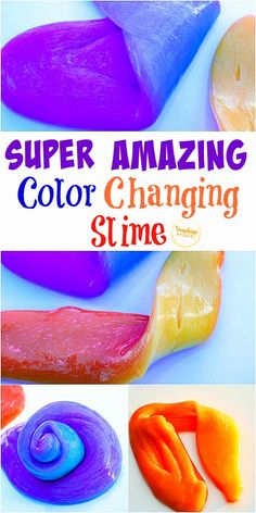 Totally wow your kids by making this color-changing slime! This is honestly the coolest slime ever! Slime For Kids, Easy Crafts For Kids, Diy For Kids, Cool Kids, Sensory Activities, Activities For Kids, Sensory Play, Summer Diy, Kid Summer