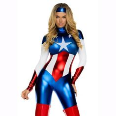 Avengers Cosplay Captain America Womens Bodysuit
