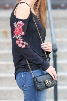 Floral embroidered cold shoulder top