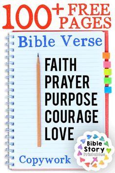 Free Bible Verse Copywork Pages http://www.biblestoryprintables.com/BibleCopywork